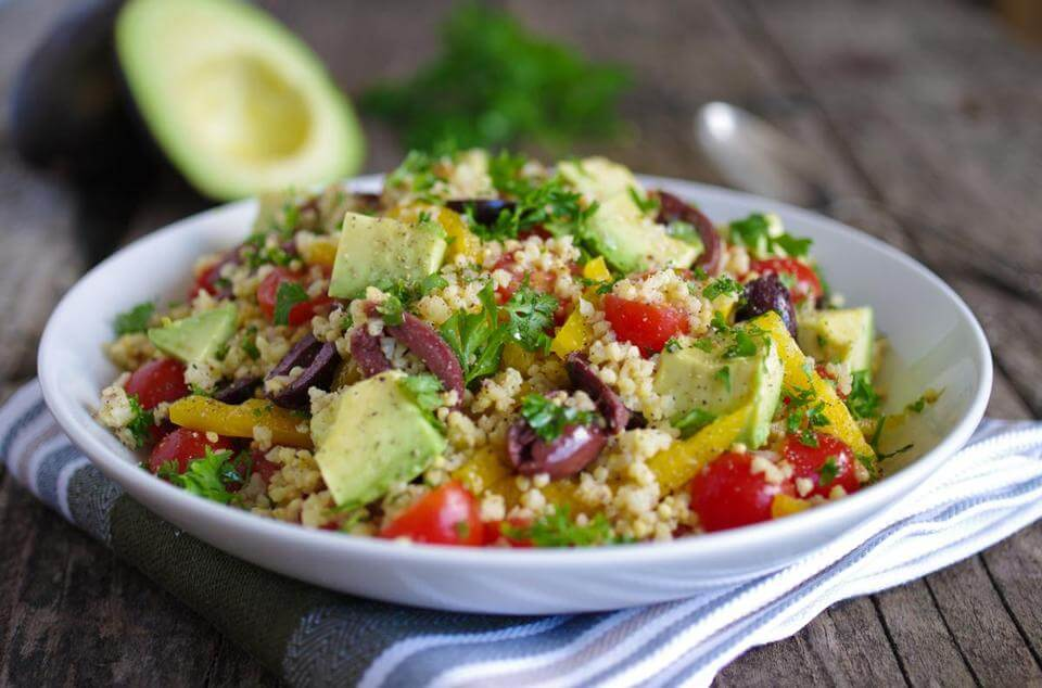 Awesome vegan millet avocado salad
